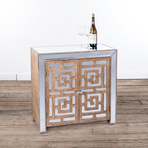 Labyrinth Venetian Glass Mirrored Small Sideboard (78.5 x 40 x 77cm)
