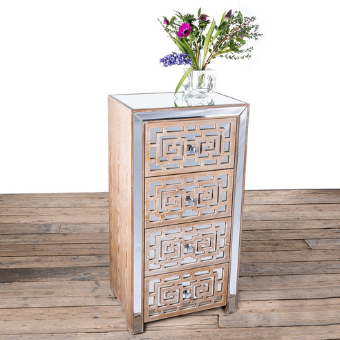 Labyrinth Venetian Glass Mirrored Tallboy 4 Drawer Chest (57 x 40 x 110.5cm)
