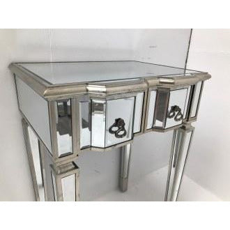 Venetian Glass Vintage Glam Mirrored Silver Small Desk Table (59 x 45 x 80cm)