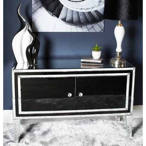 Black Metro Mirrored 2 Door Sideboard (120 x 40 x 78cm)