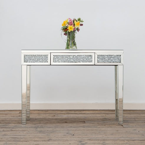 Diamond Crush Mirrored Venetian Glass Slim Console Table (108 x 36.5 x 78cm)
