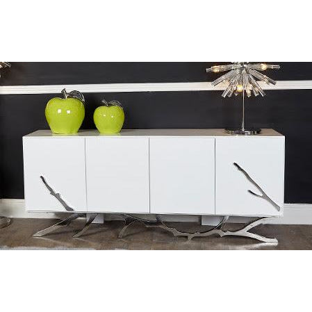 Monterey White and Stainless Steel Large Sideboard (200 x 53 x 81.5cm)