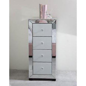 Oscar White and Clear Mirrored Tallboy Chest of 4 Drawers (42 x 42 x 96cm)