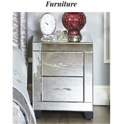 Astra Mirrored 3 Drawer Bedside Cabinet with Gemstones (56 x 45 x 66cm)