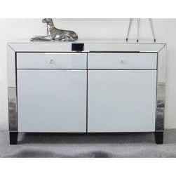 Oscar White and Clear Mirrored 2 Drawer 2 Door Sideboard (79 x 35 x 120cm)