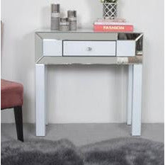 Oscar White and Clear Mirrored 1 Drawer Console Table (80 x 33 x 80cm)