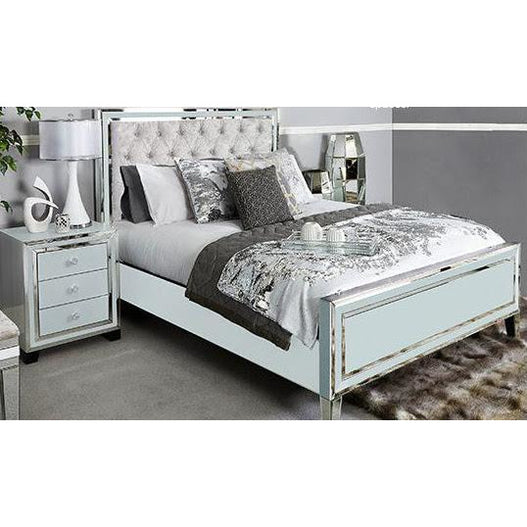 Grey Metro Mirrored King Size Bed Frame (5') (158 x 215 x 138CM)