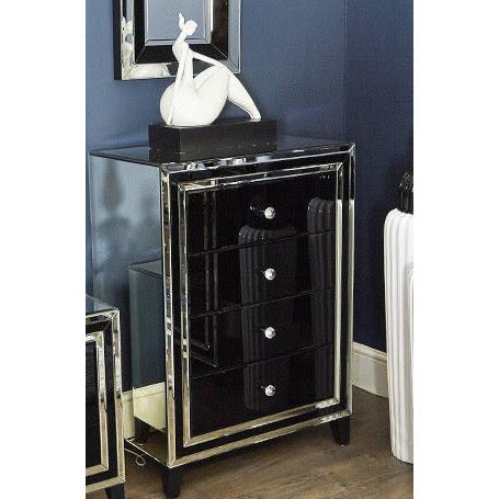 Black Metro Mirrored Chest of 4 Drawers (76.5 x 45 x 106.5cm)