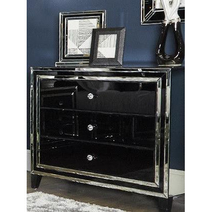 Black Metro Mirrored Chest of 3 Drawers (105 x 45 x 89.5cm)