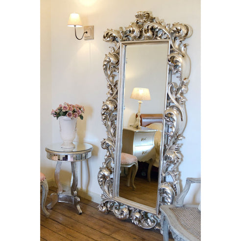 Antique Silver Rococo Large Cheval Mirror (Floor Standing Full Length, 90 x 190 x 15.5cm)