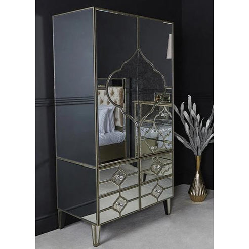 Casablanca Antique Venetian Glass Mirrored Wardrobe (94.5 x 60 x 190cm)