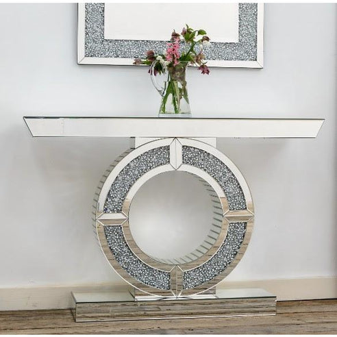 Diamond Crush Mirrored Venetian Glass Omega Console Table (120 x 35 x 79.5cm)