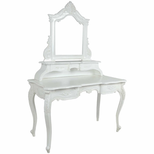 Antique White Rococo Hand Carved French Dressing Table with Mirror (120 x 57 x 173cm)