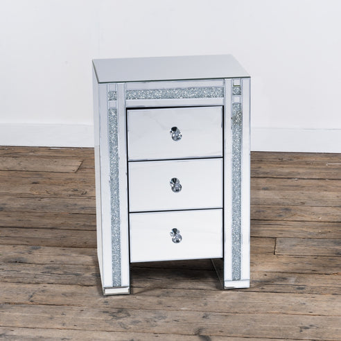 Diamond Crush Mirrored Venetian Glass 3 drawer Bedside Cabinet (45 x 35 x 66cm)