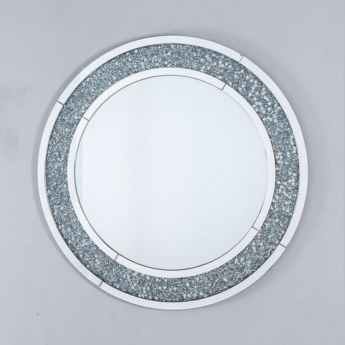 Diamond Crush Mirrored Venetian Glass Circular Mirror (100 x 100)