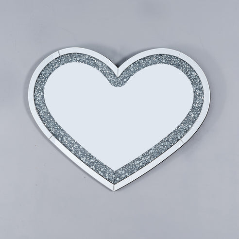 Diamond Crush Mirrored Venetian Glass Heart Mirror (90 x 70)