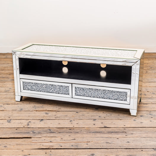 Diamond Crush Mirrored Venetian Glass TV Media Unit (120 x 45 x 55cm)