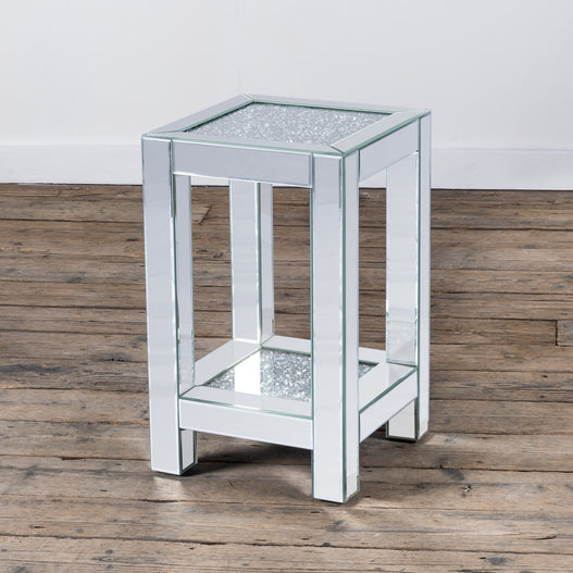 Diamond Crush Mirrored Venetian Glass Low Side Table (35 x 35 x 56cm)