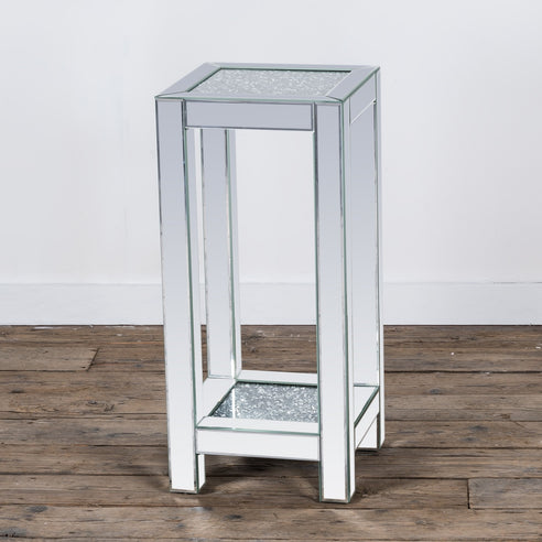 Diamond Crush Mirrored Venetian Glass High Side Table (35 x 35 x 76cm)