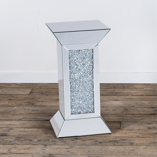 Diamond Crush Mirrored Venetian Glass Angular Tower Side Table (40 x 40 x 75cm)