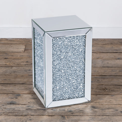 Diamond Crush Mirrored Venetian Glass Tower Side Table (31 x 31 x 51cm)