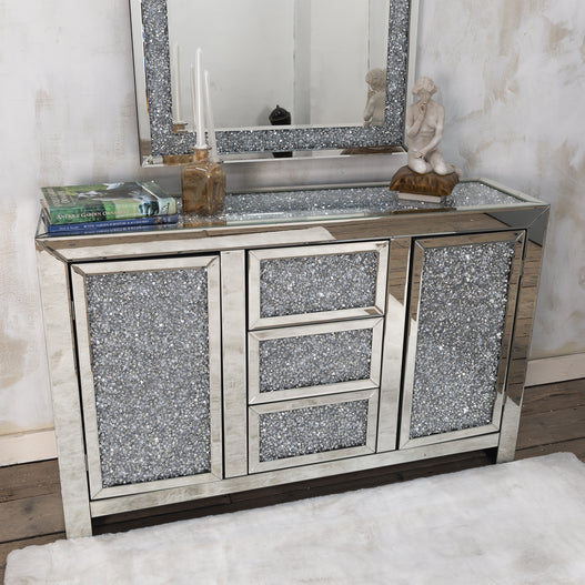 Diamond Crush Mirrored Venetian Glass Sideboard (140 x 45 x 90cm)