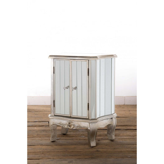 Annabelle Venetian Mirrored Silver Gilt Side Table. (48 x 32 x 64cm)