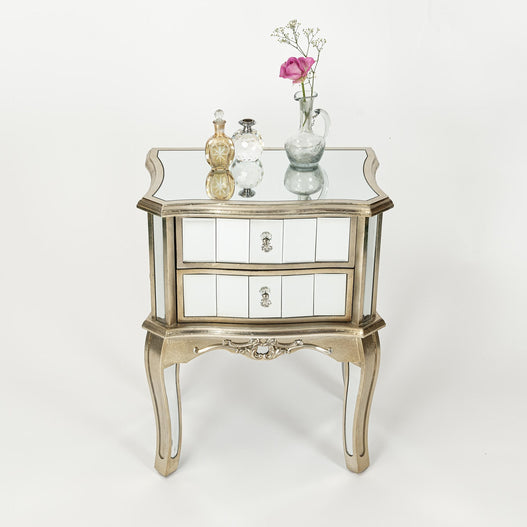 Annabelle Venetian Mirrored Silver Gilt Bedside Table