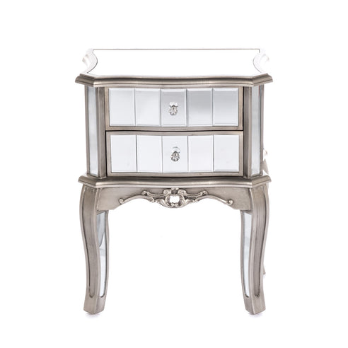 Annabelle Venetian Mirrored Gunmetal Silver Paint  Bedside Table (2 Drawers, 52 x 34 x 67cm)