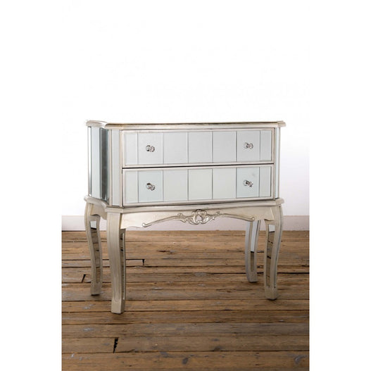 Annabelle Venetian Mirrored Silver Gilt Chest of Drawers (2 Drawers, 81 x 40 x 77cm)