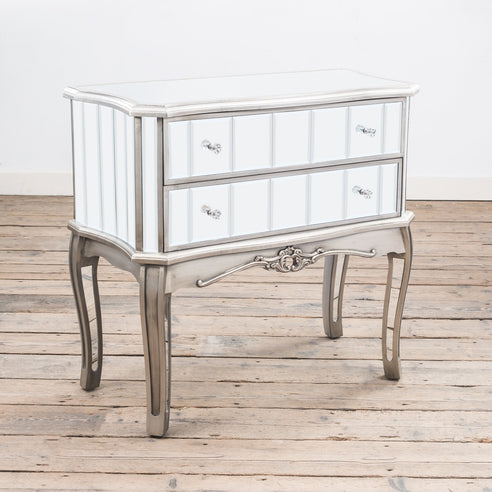 Annabelle Venetian Mirrored Gunmetal Silver Paint Chest of Drawers (2 Drawers, 81 x 40 x 77cm)