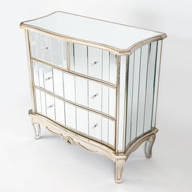 Annabelle Venetian Mirrored Silver Gilt Chest of Drawers (4 Drawers, 92 x 43 x 92cm)