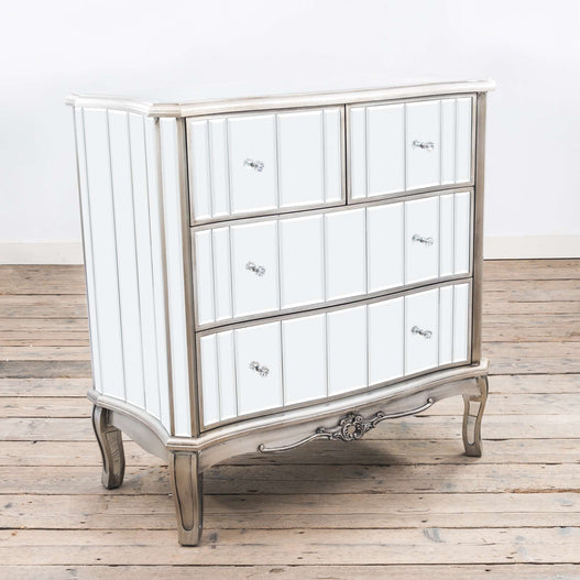 Annabelle Venetian Mirrored Gunmetal Silver Paint Chest of Drawers (4 Drawers, 92 x 43 x 92cm)