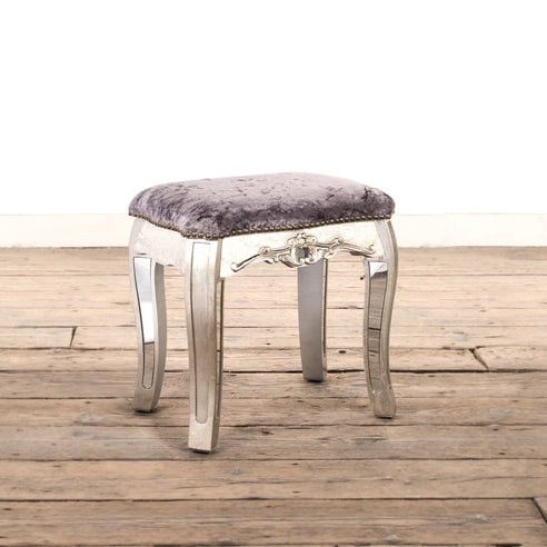 Annabelle Venetian Mirrored Silver Gilt Dressing Stool