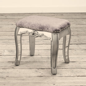 Annabelle Venetian Mirrored Gunmetal Silver Paint Dressing Stool