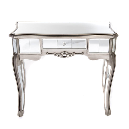 Annabelle Venetian Mirrored Gunmetal Silver Paint Console Dressing Table (91 x 45 x 77cm)