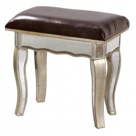 Mirrored Venetian Glass Silver Gilded Dressing Table Stool (57 x 36x 54cm)