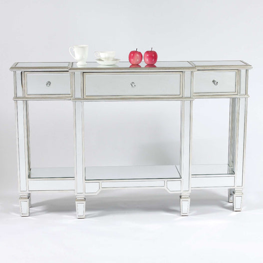 Genevieve Mirrored Silver Display Console Table