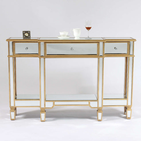 Genevieve Mirrored Gold Display Console Table