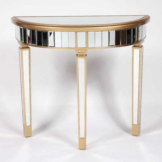 Genevieve Mirrored Gold Half Moon Console Table
