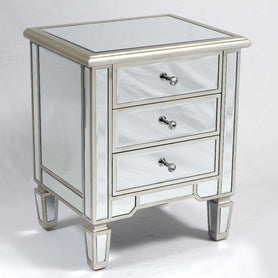 Genevieve Mirrored Silver 3 Drawer Bedside Table