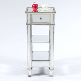 Genevieve Mirrored Silver Cocktail Side Table