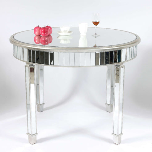 Genevieve Mirrored Silver 120cm Round Dining Table