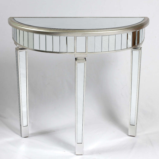 Genevieve Mirrored Silver Half Moon Console Table