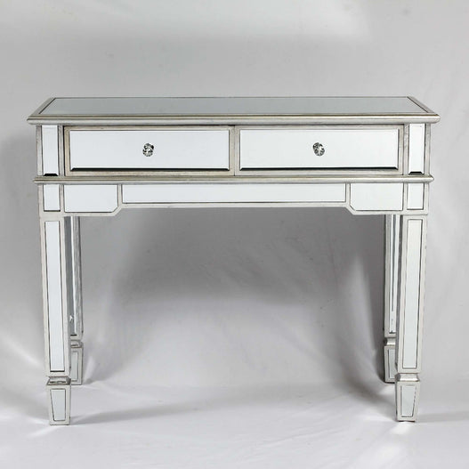 Genevieve Mirrored Silver 2 Drawer Console Table