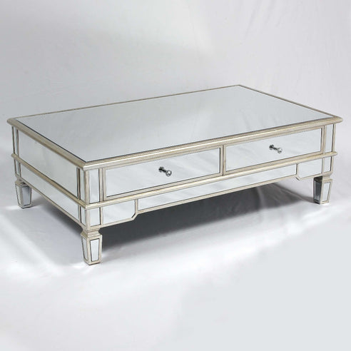 Genevieve Mirrored Silver Coffee Table