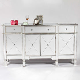 Genevieve Mirrored Silver Large Sideboard