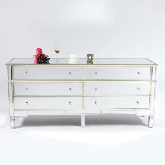 Genevieve Mirrored Silver 6 Drawer Large Chest of Drawers