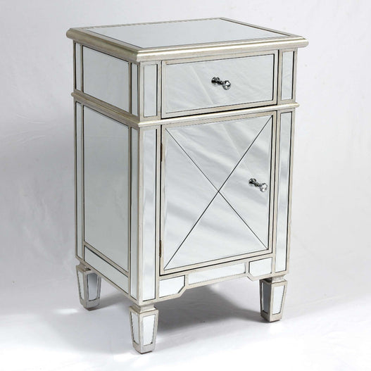 Genevieve Mirrored Silver 1 Drawer Tall Bedside Table