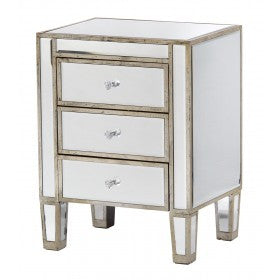 Mirrored Venetian Glass Silver Gilded 3 Drawer Bedside Chest (45 x 35 x 60cm)